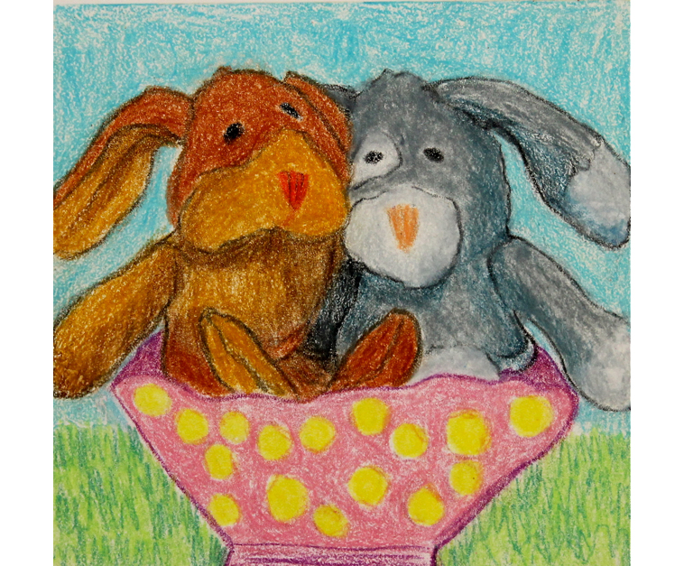 Easter Bunnies | 6x6 | Monoprint